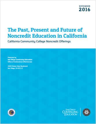 Report cover: The Past, Present and Future of Noncredit Education in California