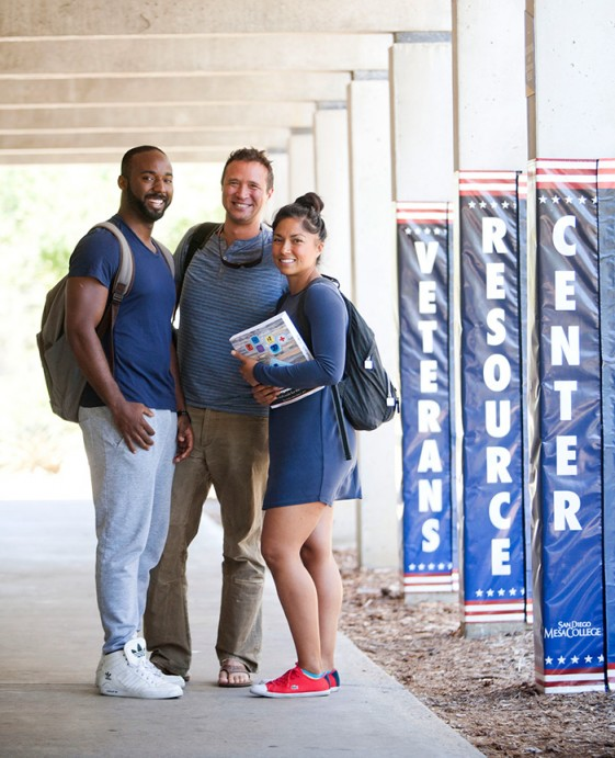 Student veterans at San Diego Mesa College's Veterans Resource Center. The district serves nearly 14,000 veterans, active-duty military and military dependents enrolled at its three colleges and San Diego Continuing Education.