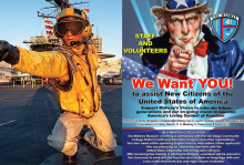 picture of poster and man on Midway Aircraft Carrier