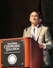 Timothy Pawlak photos presenting at Continuing Education Convocation as President of Academic Senate